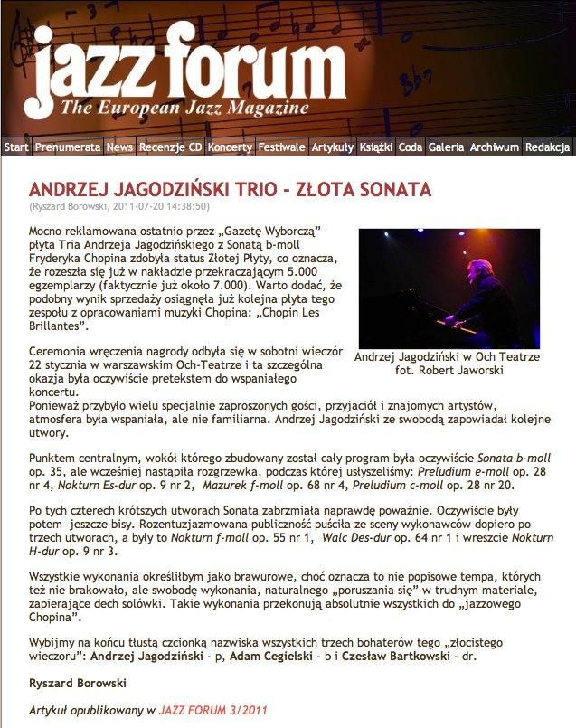 Sonata b-moll - Złota płyta, relacja z koncertu