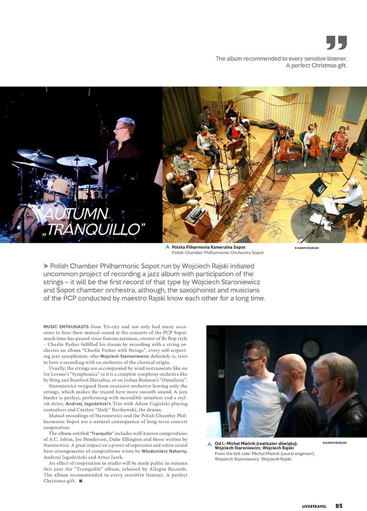 Live and Travel Magazine about the CD Tranquillo