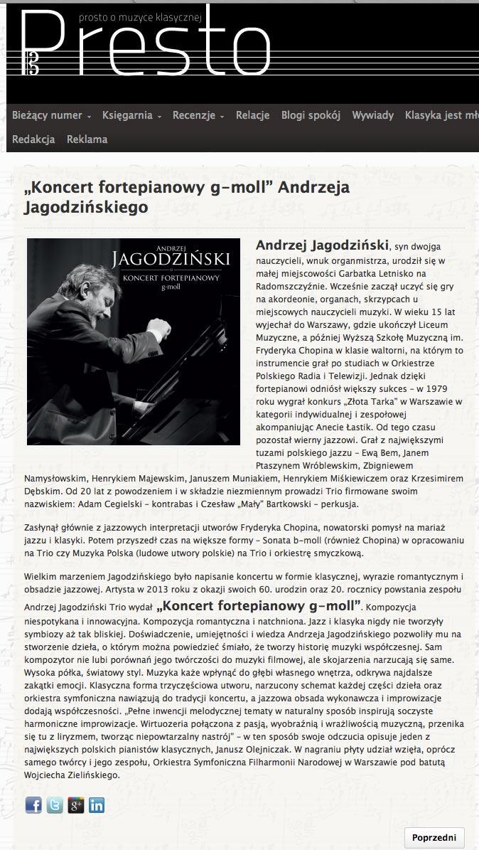 Recenzja płyty Koncert fortepianowy g-moll